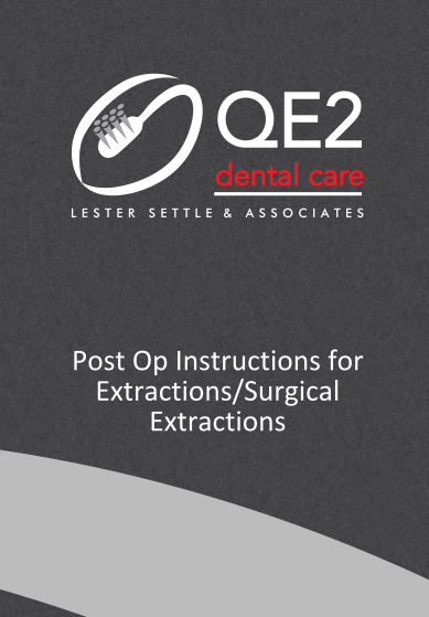 First page of Post Op Instructions for Extractions/Surgical Extractions