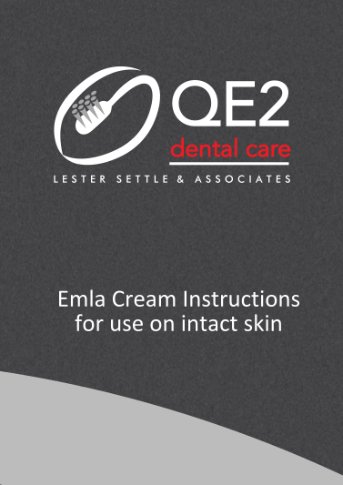 First page of Emla Cream instructions for use on intact skin
